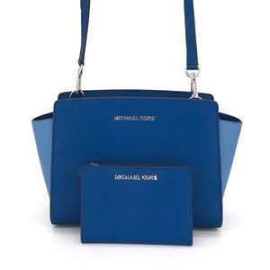 2PCS Michael Kors Selma Messenger Bag Wallet Set
